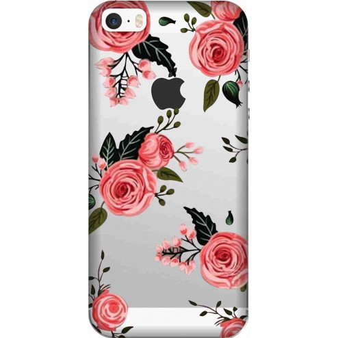 Pink Floral Clear Case for Apple iphone 5s