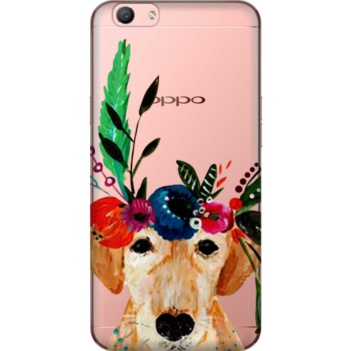Cute Dog Floral Tiara Clear Case for Oppo F1s