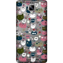 Cute lil cats clear case for oneplus 3