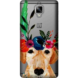 Cute dog floral tiara clear case for oneplus 3