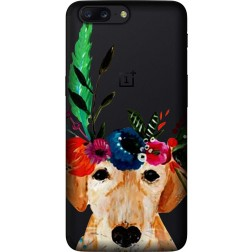 Cute Dog Floral Tiara Clear Case for OnePlus 5