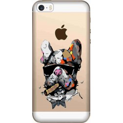 Artistic Painted Bulldog Clear Case for Apple iphone 5