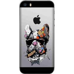 Artistic Painted Bulldog Clear Case for Apple Iphone 5S