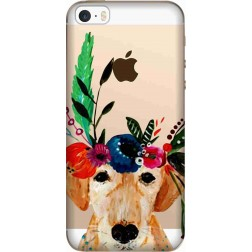 Cute dog floral tiara Clear case for Apple Iphone 5