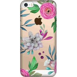 Mixed Floral Clear Case for Apple Iphone 5