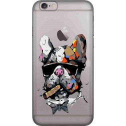 Artistic Painted Bulldog Clear Case for Apple iphone 6