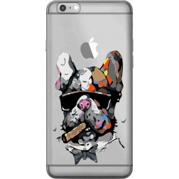 Artistic Painted Bulldog Clear Case for Apple Iphone 6 Plus
