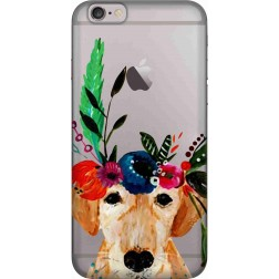Cute dog floral tiara Clear case for Apple iphone 6
