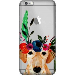 Cute dog floral tiara Clear case for Apple Iphone 6 Plus