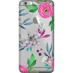 Mixed Florals Clear Case for Apple Iphone 6 Plus
