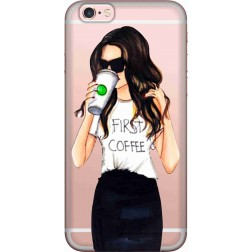 Coffee & Chill Girl Clear Case for Apple iPhone 6