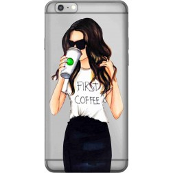 Coffee & Chill Girl Clear Case for Apple iPhone 6S Plus