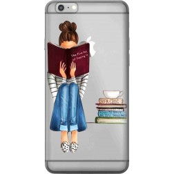 Bookworm & Coffee Clear Case for Apple iPhone 6S Plus
