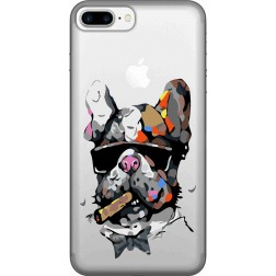 Artistic Painted Bulldog Clear Case for Apple Iphone7 Plus