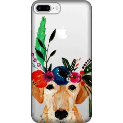 Cute Dog Floral Tiara Clear Case for Apple iphone 7 Plus