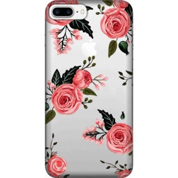 Pink Floral Clear Case for Apple iphone 7 Plus