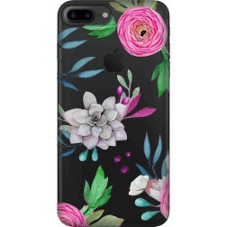 Mixed Florals Clear Case for  Apple Iphone7 Plus