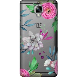 Mixed florals clear case for oneplus 3t