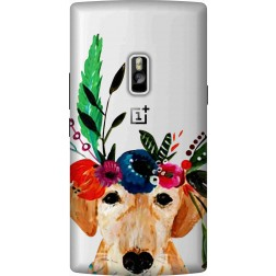 Cute Dog Floral Tiara Clear Case for Oneplus 2