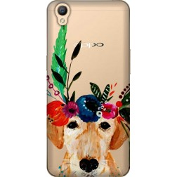 Cute Dog Floral Tiara Clear Case for Oppo A37