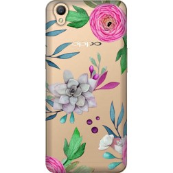 Mixed Florals Clear Case for Oppo A37
