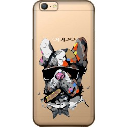 Artistic Painted Bulldog Clear Case for Oppo A57