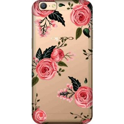 Pink Florals Clear Case for Oppo A57