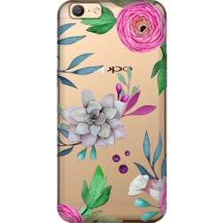 Mixed Florals Clear Case for Oppo A57