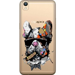 Artistic Painted Bulldog Clear Case for Oppo F1 Plus