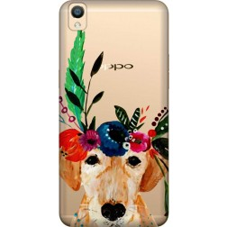 Cute Dog Floral Tiara Clear Case for Oppo F1 Plus