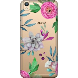 Mixed Florals Clear Case for Oppo F1 Plus