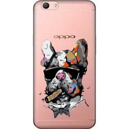 Artistic Painted Bulldog Clear Case for Oppo F1s