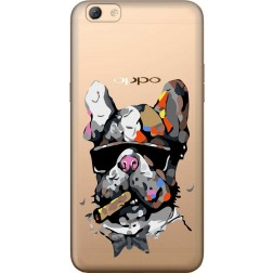 Artistic Painted Bulldog Clear Case for Oppo F3 PluS