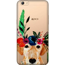 Cute Dog Floral Tiara Clear Case for  Oppo F3