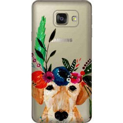 Cute Dog Floral Tiara Clear Case for Samsung Galaxy A7 2016