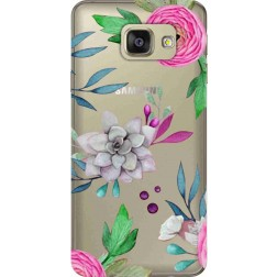 Mixed Floral Clear Case for Samsung Galaxy A7 2016