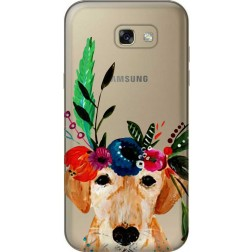 Cute Dog Floral Tiara Clear Case for Samsung Galaxy A7 2017