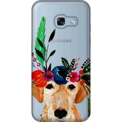 Cute Dog Floral Tiara Clear Case for Samsung Galaxy A3 2017