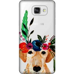 Cute Dog Floral Tiara Clear Case for Samsung Galaxy A5 2016