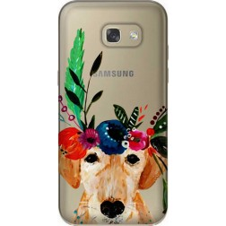 Cute Dog Floral Tiara Clear Case for Samsung Galaxy A5 2017