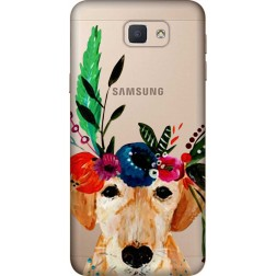 Cute Dog Floral Tiara Clear Case for Samsung Galaxy J5 Prime