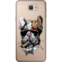 Artistic Painted Bulldog Clear Case for Samsung Galaxy J7 Prime