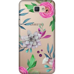 Mixed Floral Clear Case for Samsung Galaxy J7 Prime