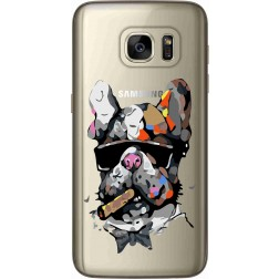Artistic Painted Bulldog Clear Case for samsung Galaxy s7