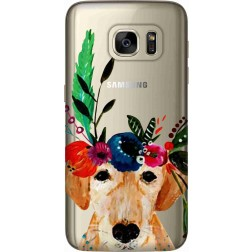 Cute Dog Floral Tiara Clear Case for Samsung Galaxy S7