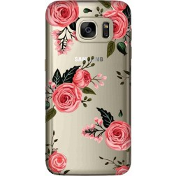 Pink Florals Clear Case for Samsung Galaxy S7