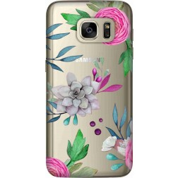 Mixed Floral Clear Case for Samsung Galaxy S7