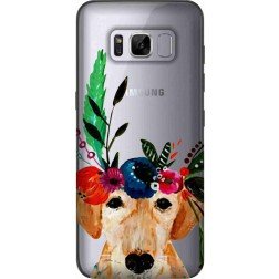 Cute Dog Floral Tiara Clear Case for Samsung Galaxy S8