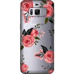 Pink Florals Clear Case for Samsung Galaxy S8