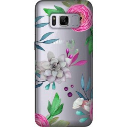 Mixed Floral Clear Case for Samsung Galaxy S8